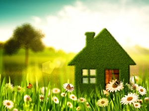 House with sun shining